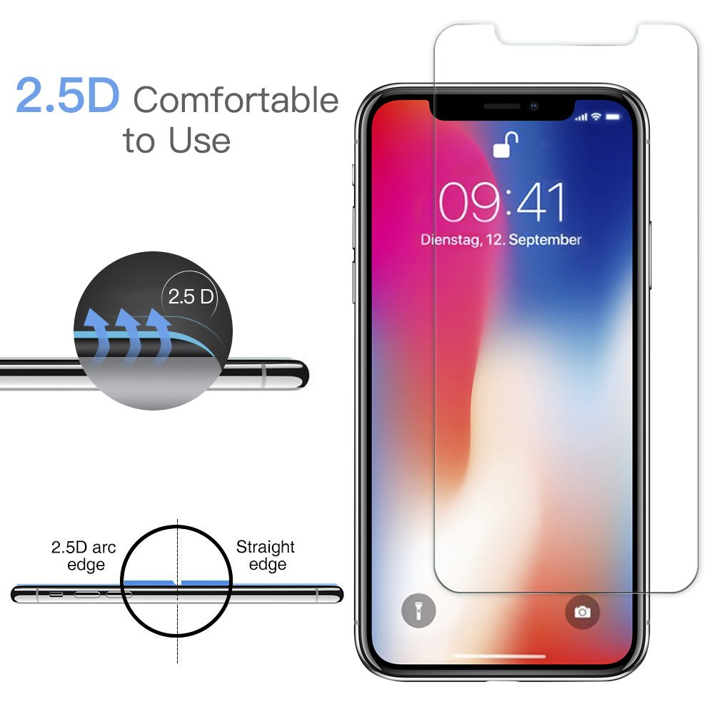 Panzerglas Schutzfolie für iPhone X - [2 Stück]Senisttech iPhone X Panzerglasfolie - 9H Härte Displayschutzfolie, Ultra Kristallklar 99% Transparenz-Schutz vor Kratzen, Öl, Bläschen