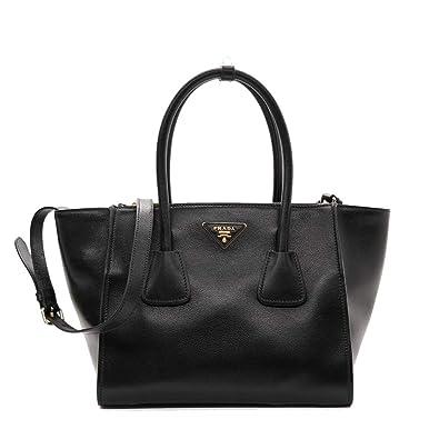Amazon.com  Prada Women s Glace Calf Shopping Handbag 1bg625 Black ... 1f53a947c2b3e