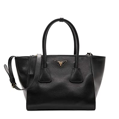 dcbc95dd2102 Amazon.com: Prada Women's Glace Calf Shopping Handbag 1bg625 Black Leather  Tote: Shoes