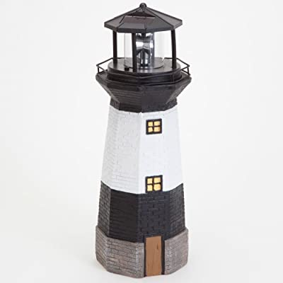 Bits and Pieces - Solar Lighthouse Outdoor Sculpture - Garden Décor and Lighting - Hand Painted Durable Resin - Illuminate Your Patio, Yard or Poolside with This Decorative Solar Light Statue : Garden & Outdoor