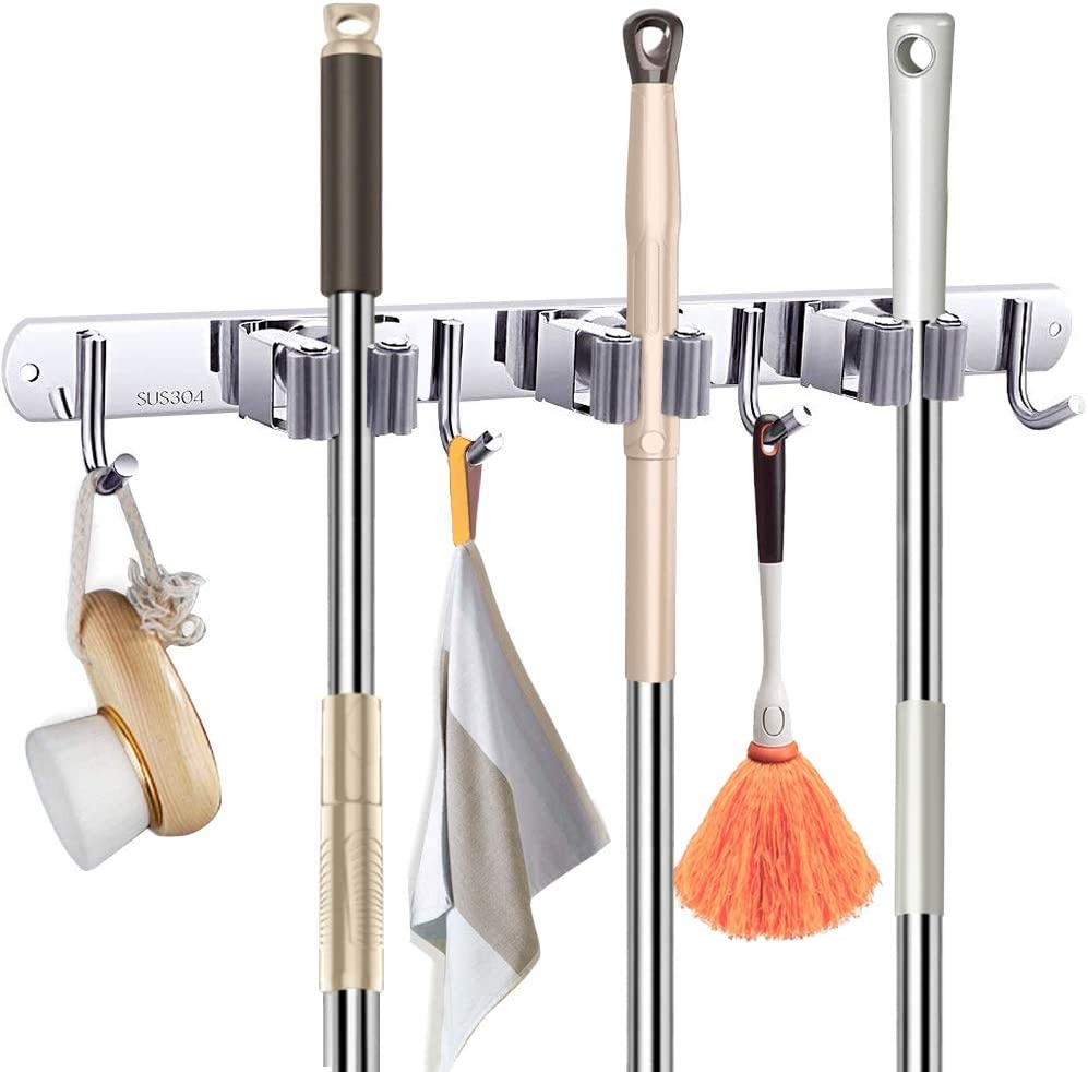 Broom and Mop Holder Wall Mount,Heavy Duty with 3 Racks 4 Hooks, Mop and Broom Storage Organizer hanger ,Metal Stainless Steel Wall Mounted Organizer Tools for Garden,Bathroom,Kitchen,Office,Closet...