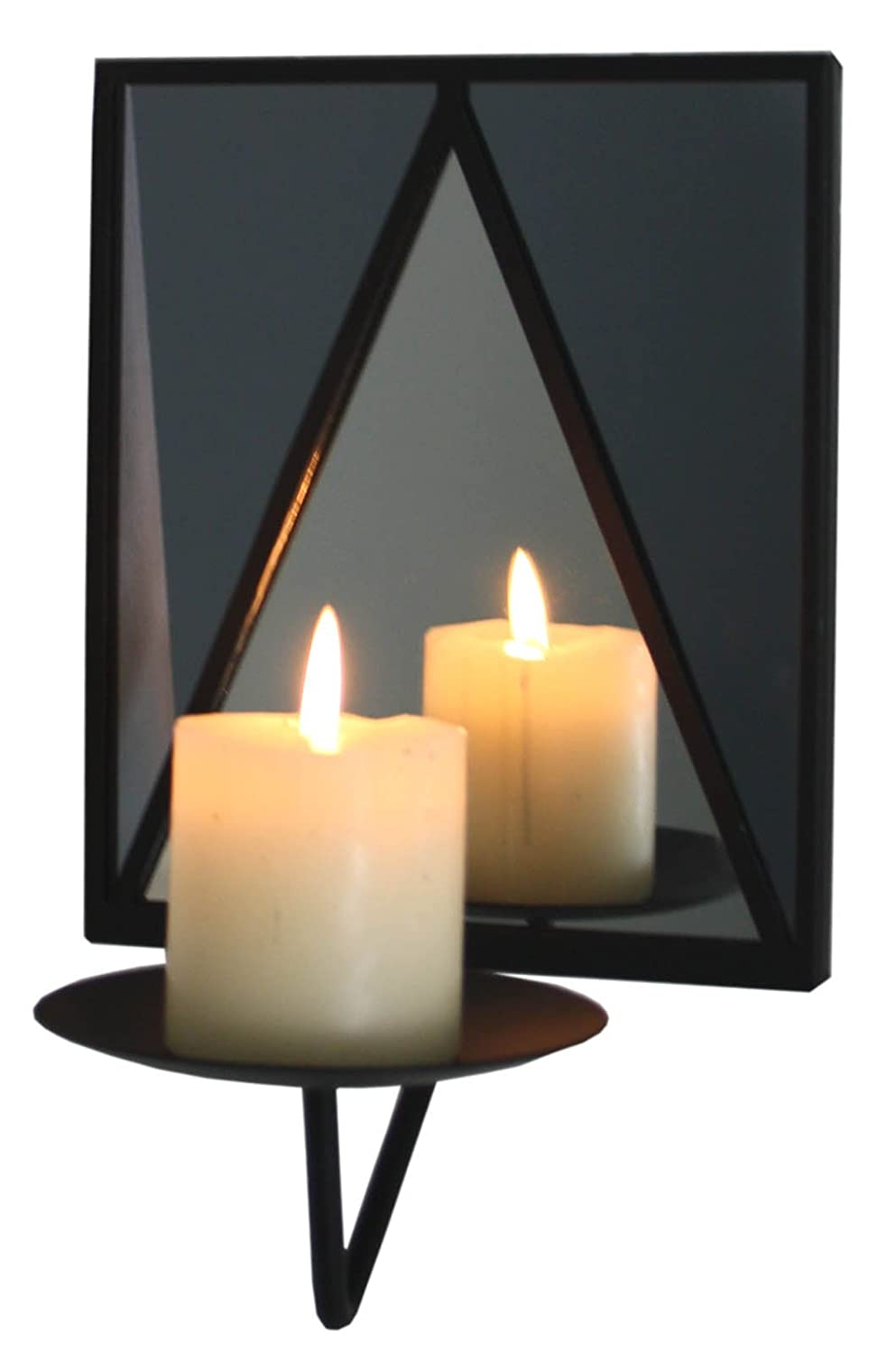 Black Metal and Stained Glass Style Mirrored Candle Wall Sconce marymarygardens