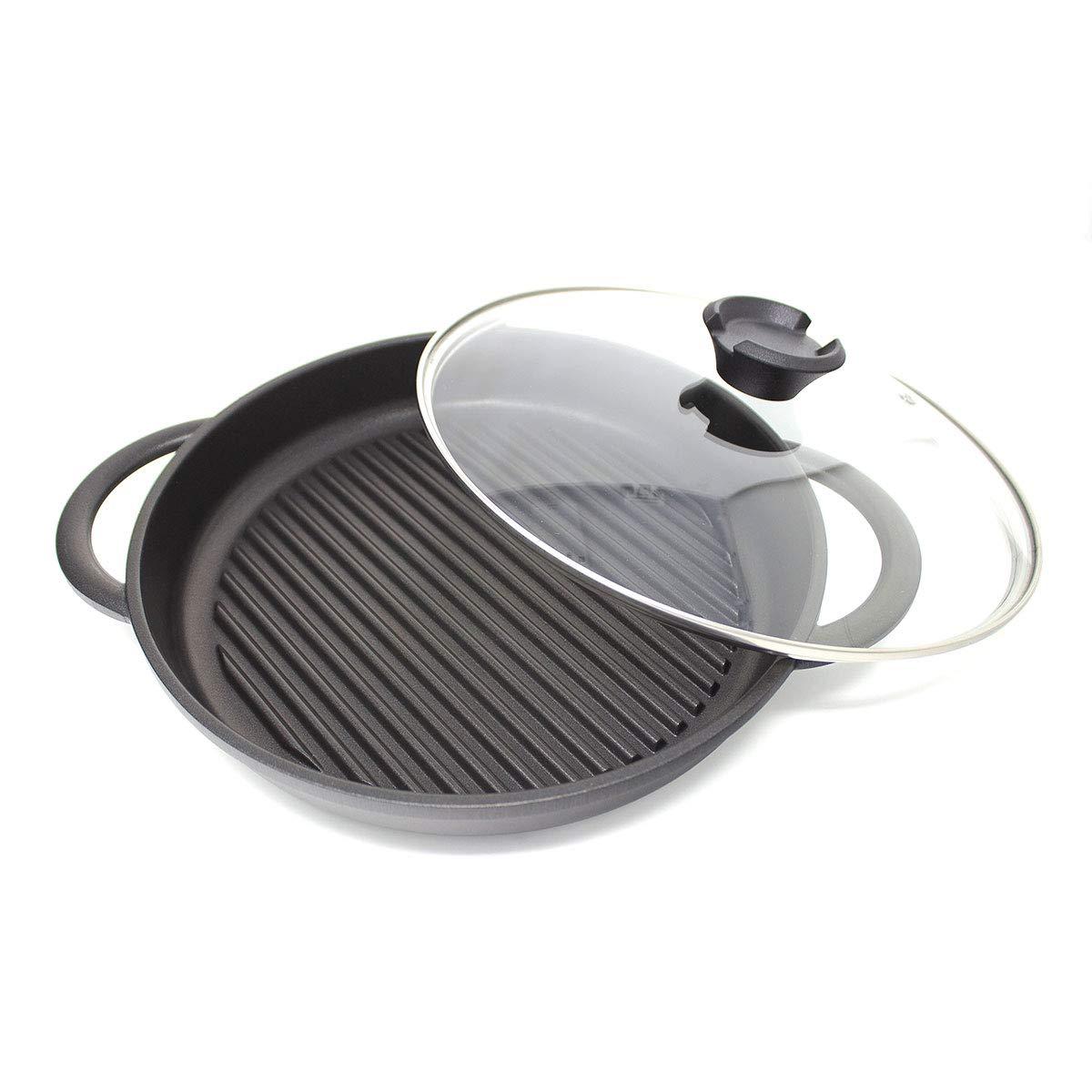Jean Patrique The Whatever Pan - Cast Aluminium Griddle Pan with Glass Lid