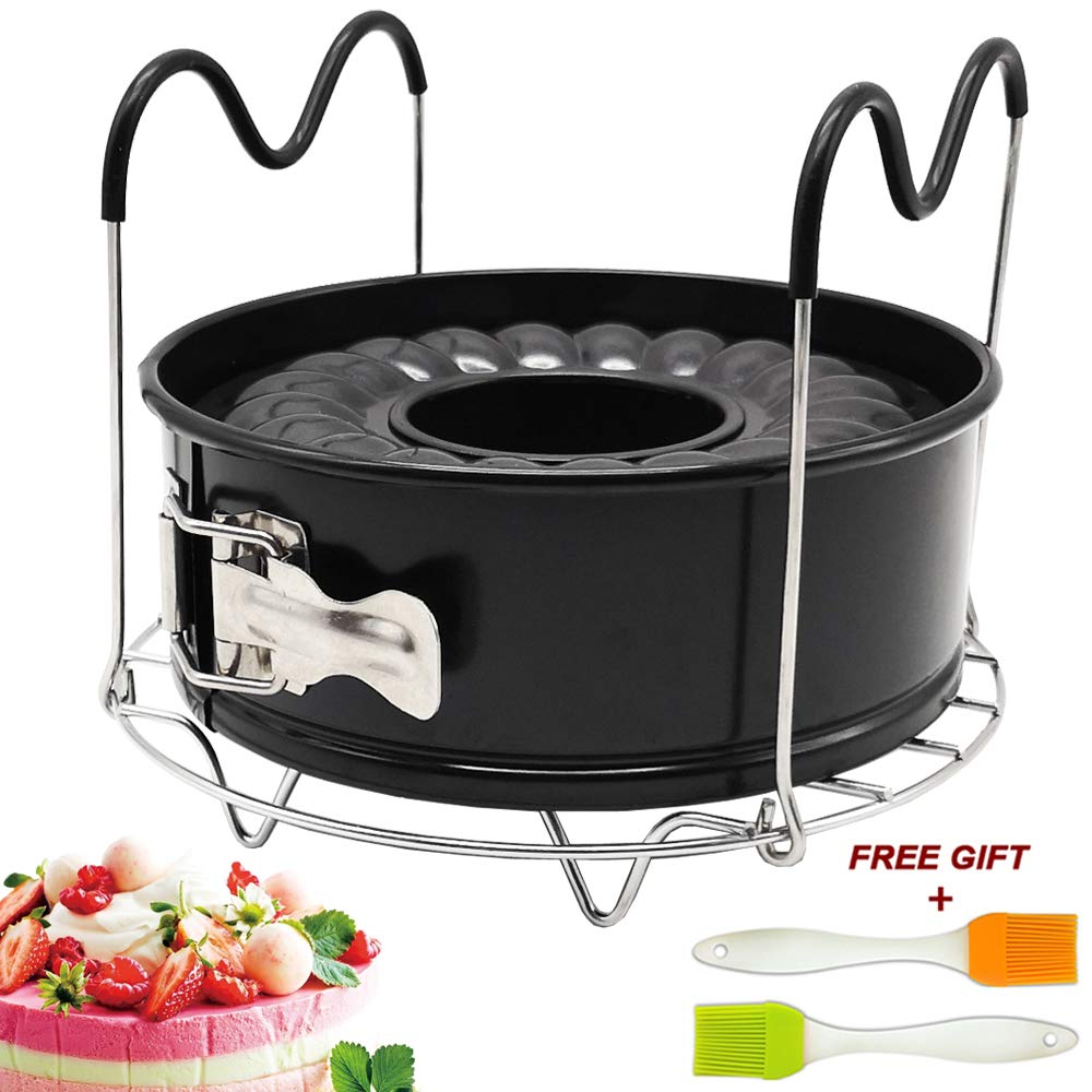 7 Inch Springform Pan Non-stick Leakproof 2 Removable Bottom, Egg Rack, 1 Pair Silicone Mitt and Brush Pressure Cooker Accessories Set Fit for Instant Pot 5 6 8 qt