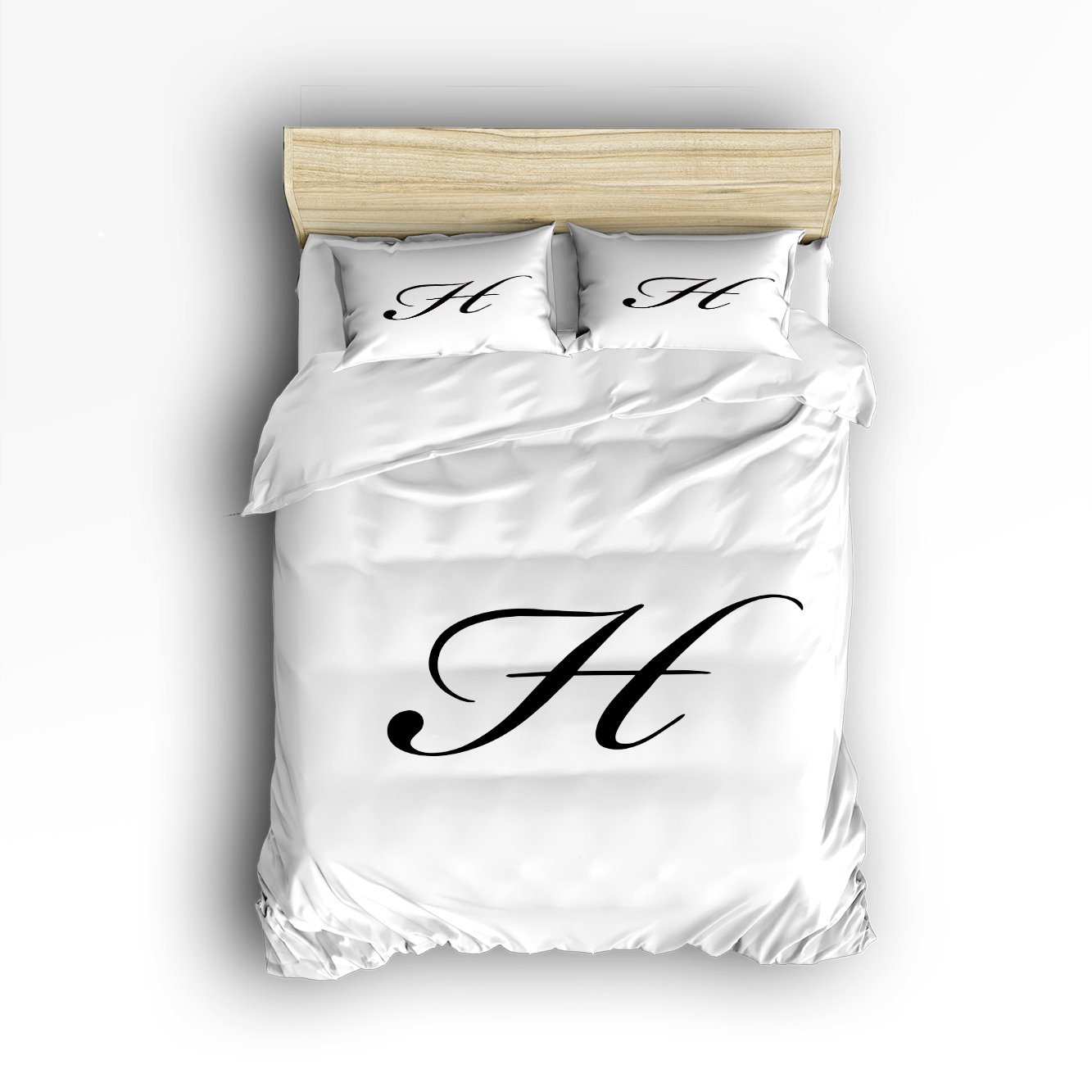 4 Pieces Home Comforter Bedding Set, Personalized Letter H Wedding Engagement Birthday Bridal Twin Size by LovingIn