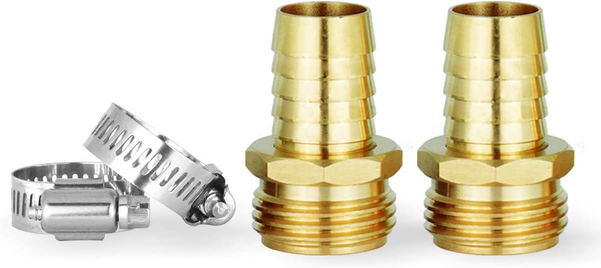 Solid Brass Hose Repair Kit,Hose Connector,2 PCs Male Hose End,Fits All 3/4-Inch Garden Hose