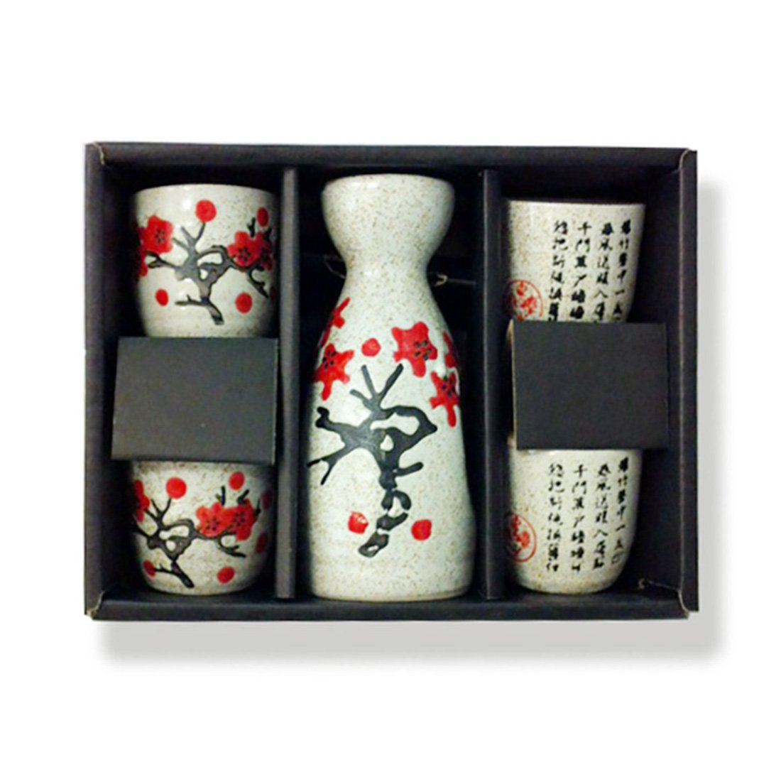 J-SS2-Ceramic Sake Set (1 Bottle & 4 Cups) with Flower & Chinese Poem Design-grey CHINA ELEMENTS