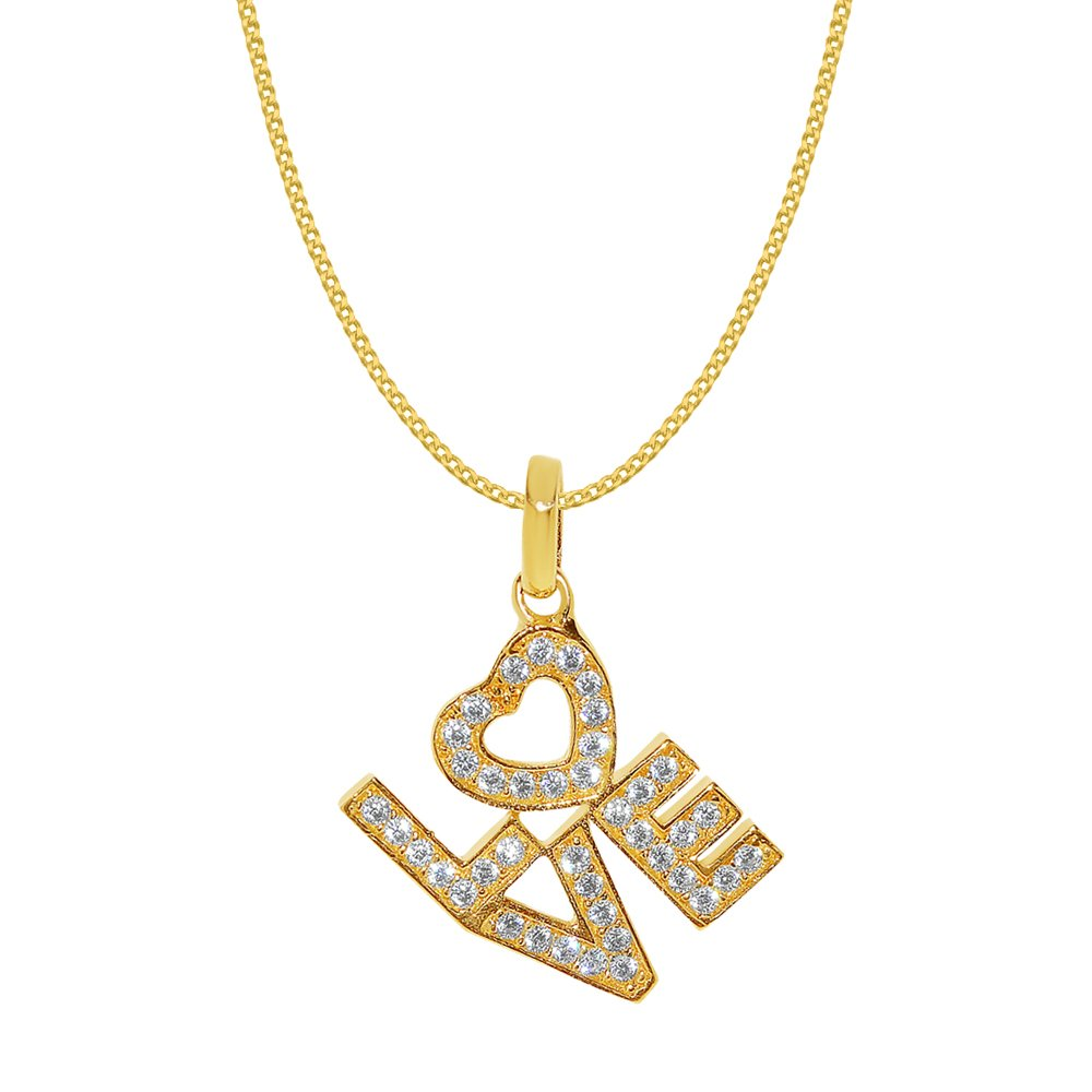 14k Yellow Gold Cubic Zirconia 'LOVE' Heart Pendant with 0.8-mm Yellow Gold Square Wheat Chain