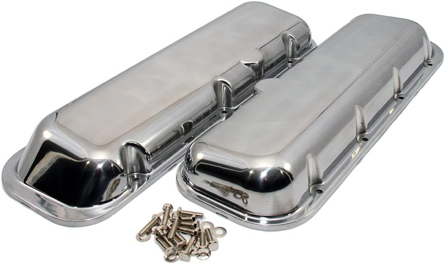 Ball Milled 1965-95 Compatible//Replacement for Chevy Big Block 396-427-454-502 Short Polished Aluminum Valve Covers