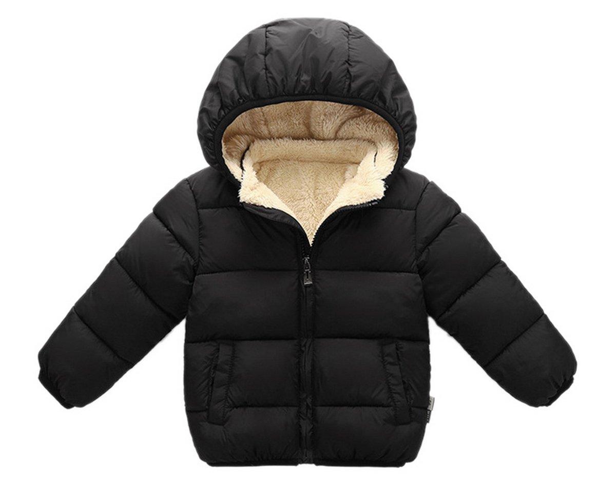 Girl's Warm Fleece Lined Solid Jacket Winter Cute Shearling Pea Coat for Kids 120 Black
