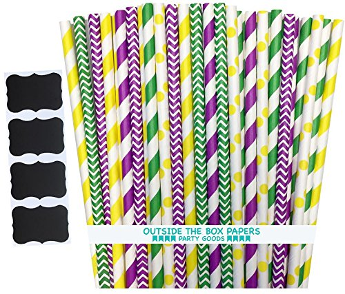 Outside the Box Papers Mardi Gras Theme Paper Straws-7.75 Inches 150 Pack Purple, White, Yellow, Green