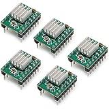 PoPprint, stepper con dissipatori di calore, 5 pezzi, Rampa1.4A4988, per stampanti 3D, Green, 5