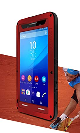 huge discount dbe03 9f764 Waterproof Case for Sony Xperia M5, LOVE MEI Brand Shockproof Dustproof  Aluminum Metal with Gorilla Glass Cover Red *Two-Years Warranty*