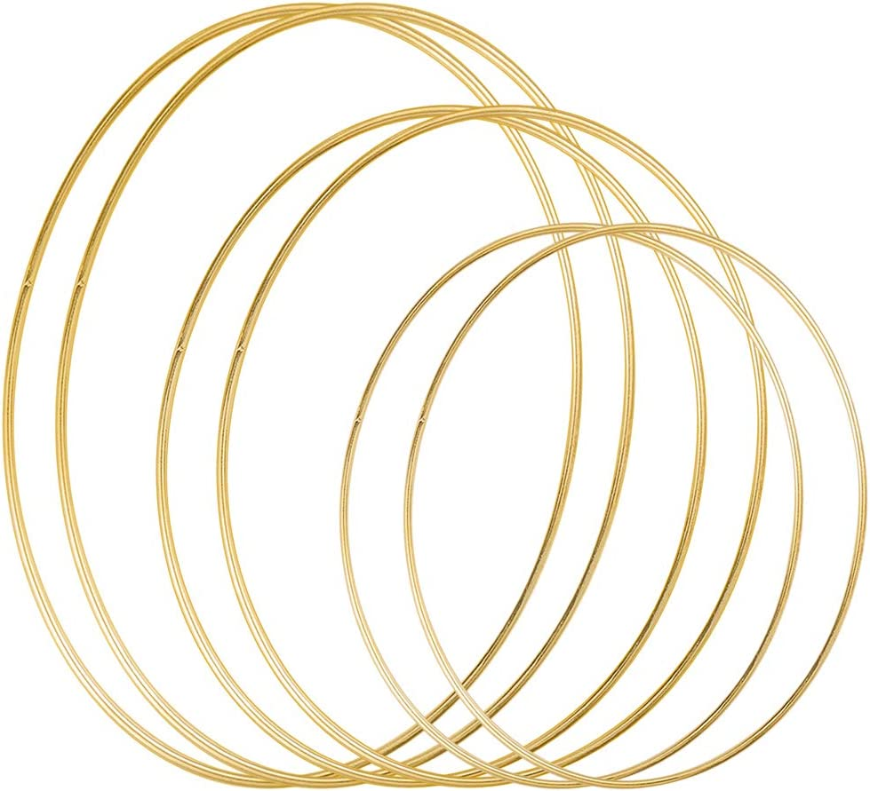 Sntieecr 6 Pack 3 Sizes (12, 16 & 19 Inch) Large Metal Floral Hoop Wreath Macrame Gold Hoop Rings for Making Christmas Wreath Decor and DIY Dream Catcher Wall Hanging Crafts