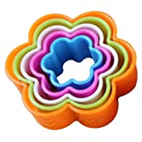 Sanwood 5Pcs Fondant Cake Cookie Sugarcraft Cutters Decorating Molds Kitchen - Ramdom Colour (Flower)