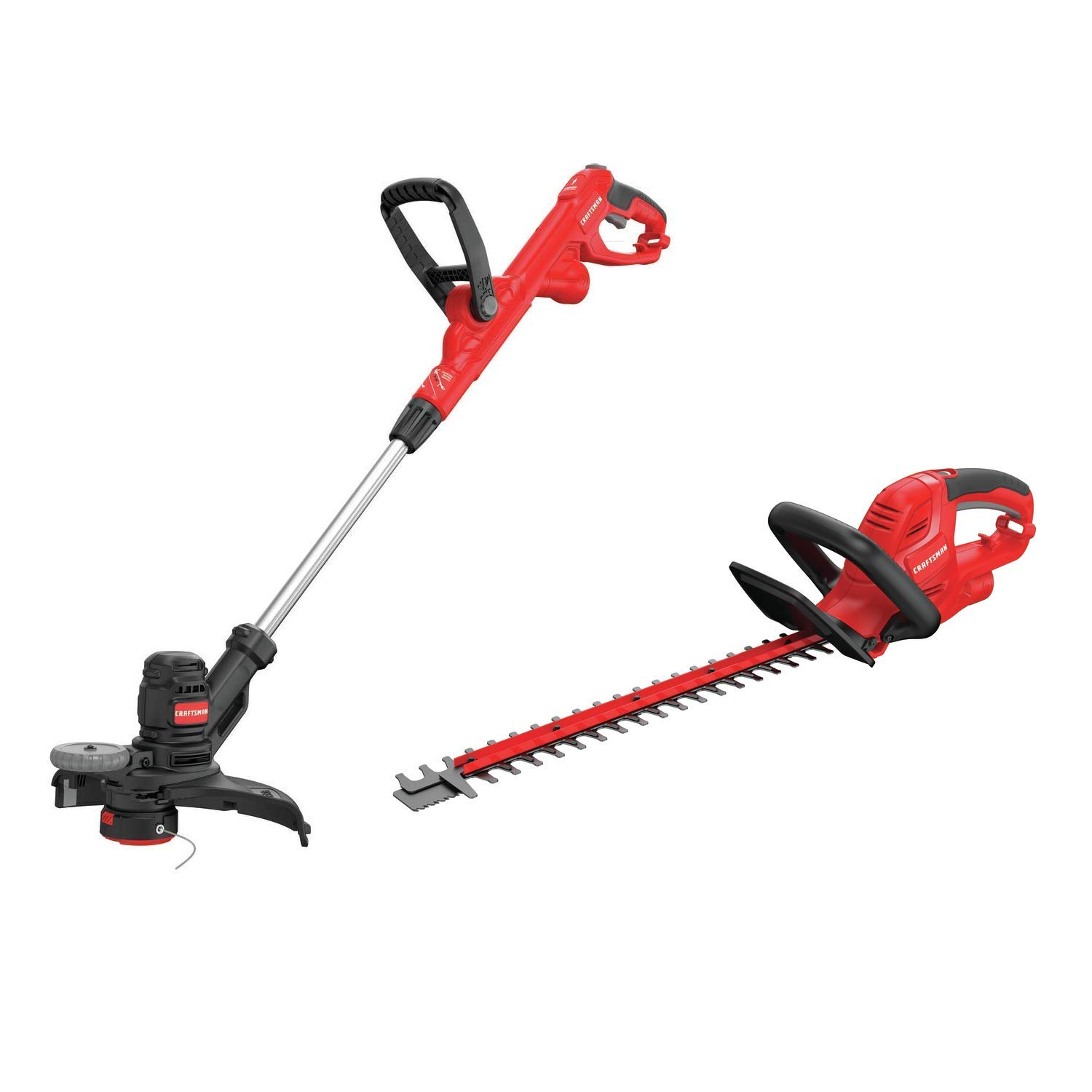 CRAFTSMAN CMESTE920 6.5Amp Electric String Trimmer w Push Button Feed System with CMEHTS822 22 Electric Hedge Trimmer
