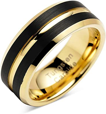 Tungsten Carbide Domed Faceted Ring Stepped Edge 8mm Wedding Band Ring 7 Size