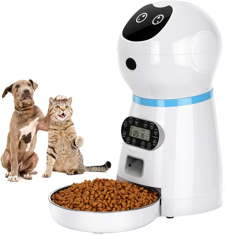 COVONO Automatic Cat Feeder, 3.5L Dog Food Dispenser, up to 4 Meals a Day / Portion Control / Voice Recording / Timer Programmable / Stainless Steel Bowl