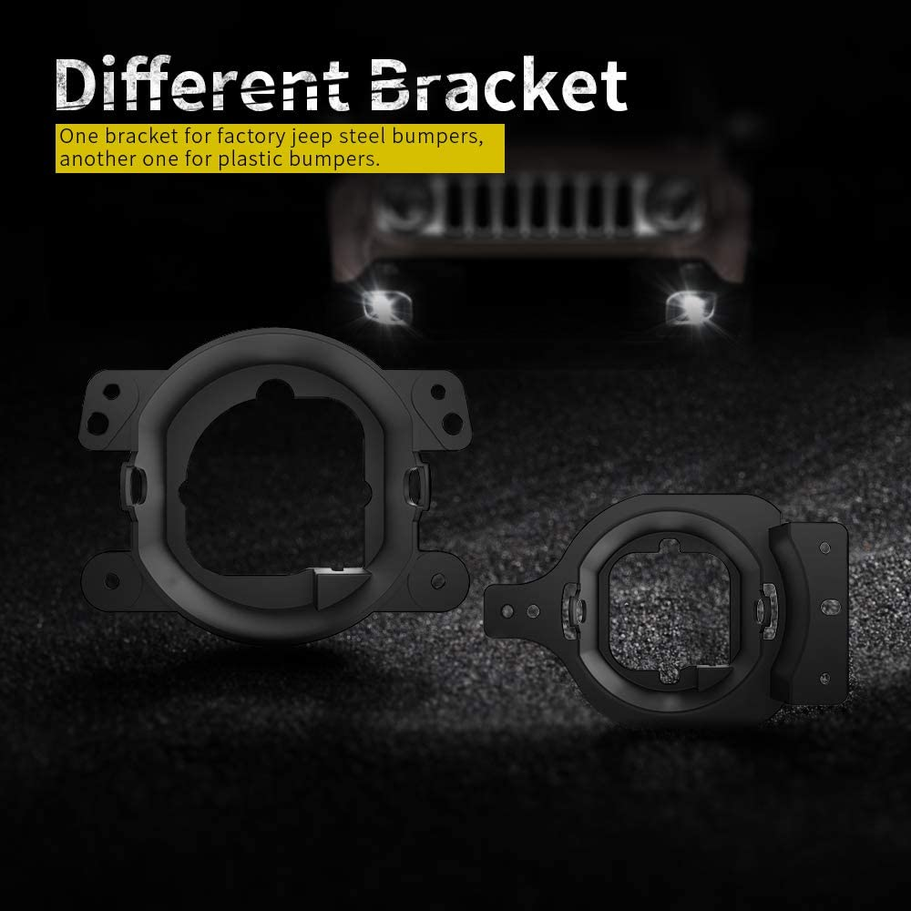BICYACO LED Fog Lights with Adapter Ring for Jeep Wrangler JL 2018-2019 Passing Lights 30W-Black