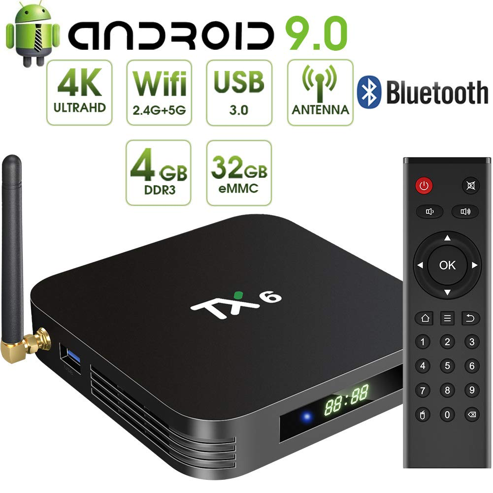 Android 9.0 TV Box,Pendoo TX6 Android TV Box 4GB DDR3 32GB EMMC Dual WiFi 2.4G+5G Bluetooth Quad Core 3D 4K Ultra HD H.265 USB3.0 Android TV Box by pendoo