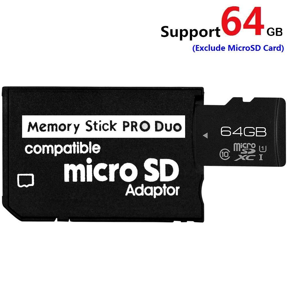 TYJTECH Adaptador de Tarjeta de Memoria MicroSD microSDHC a MS Pro Duo para cámara Sony PSP y Otros Negro Black (1 Slot)