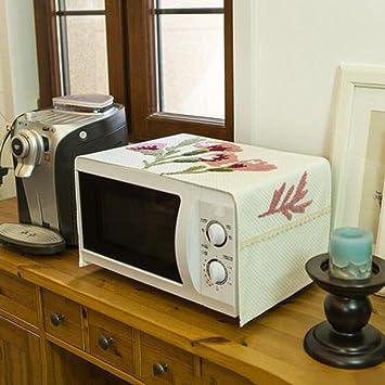 Bordado Cubierta del horno de microondas Horno Cubierta de tela Algodón y lino Paño Horno microondas