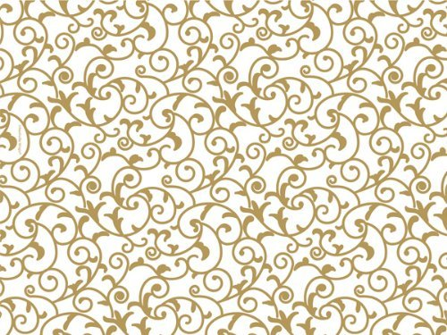 Gold and White Elegant Scroll Tissue Paper 20 Inch X 30 Inch