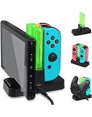 Ladeständer Kompatibel mit Nintendo Joy-Controller, Controller Lade-Docking-Ständer, Pro Controller Ladegerät mit LED-Anzeige und Typ C USB-Kabel für Nintendo Switch-Konsole