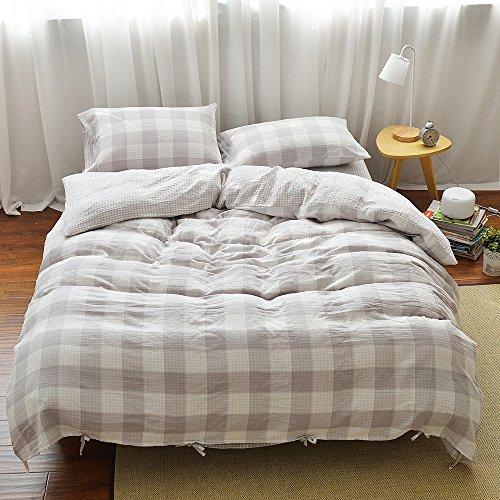 MKXI Geometric Pattern Beige Grey Grid Plaid Modern Bedding Sets Soft Duvet/Comforter Cover King Size with 2 Pillow Covers - Plaid Comforter Sets