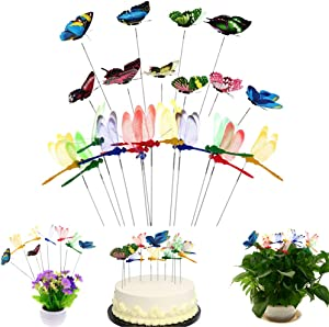 SUSHAFEN 12Pcs Dragonflies Stakes and 10Pcs Butterflies on Sticks Butterfly Dragonflies Cake Toppers for Party Cake Decoration Flower Plant Pot Miniature Fairy Garden Decoration