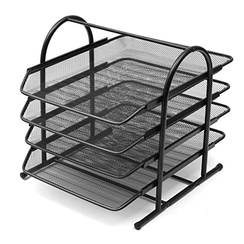 Caveen 4 Tiers Black Mesh Filling Front Load Letter Paper Storage Tray Organizer Home Office Use