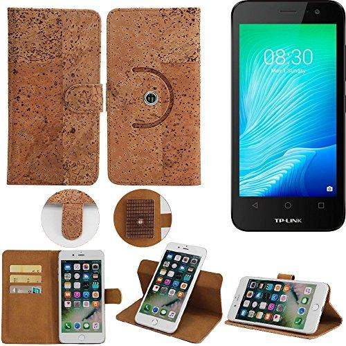 360° Funda Smartphone Caso de corcho cubierta del tirón para TP-LINK Neffos Y50, marrón. cáscara protectora caja case cover - K-S-Trade (TM)