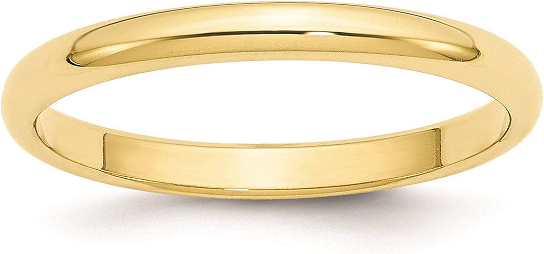 Full /& Half Sizes 10k Yellow Gold 2.5mm Half Round Wedding Ring Band Size 4-14