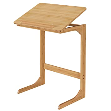 Homfa Mesa para Ordenador Portátil Mesa Auxiliar Sofá Mesa de Escritorio Ajustable Bambú 60x40x70cm