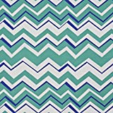 A274 Outdoor Indoor Marine Upholstery Fabric By The Meter | Contemporary Chevron Flame Stitch - Teal, Blue and White