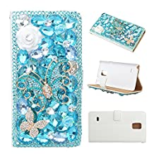 KAKA(TM) Fashion Style Blue Butterfly Pattern PU Leather 3D Handmade Rhinestone Crystal Pearl Flower with Built-in Card Slots Money Pocket Flip Magnetic Closure Cover Case for Samsung Galaxy S5 Mini