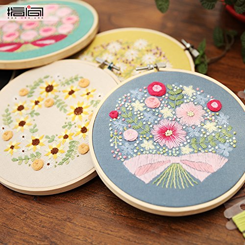 Eafior DIY Beginner Counted Starter Cross Stitch Kit for Art Craft Handy Sewing Including Color Pattern Embroidery Cloth,Embroidery Hoop,Color Threads,Tools Kit Cross Stitch Stamped Embroidery Kit