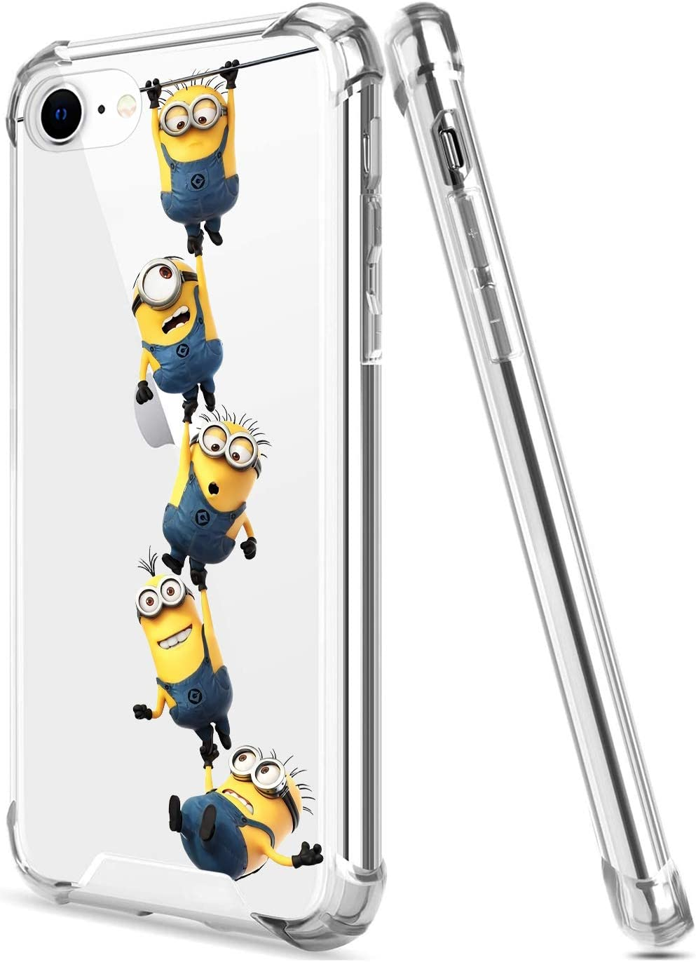 Crystal Clear iPhone 7/8/SE 2020 Case with 4 Corners Shockproof Protection,Cute Cartoon Design Soft TPU Bumper and Anti-Scratch PC Back Cover Cases for Men and Women (Yellow-Lovely-Minions)