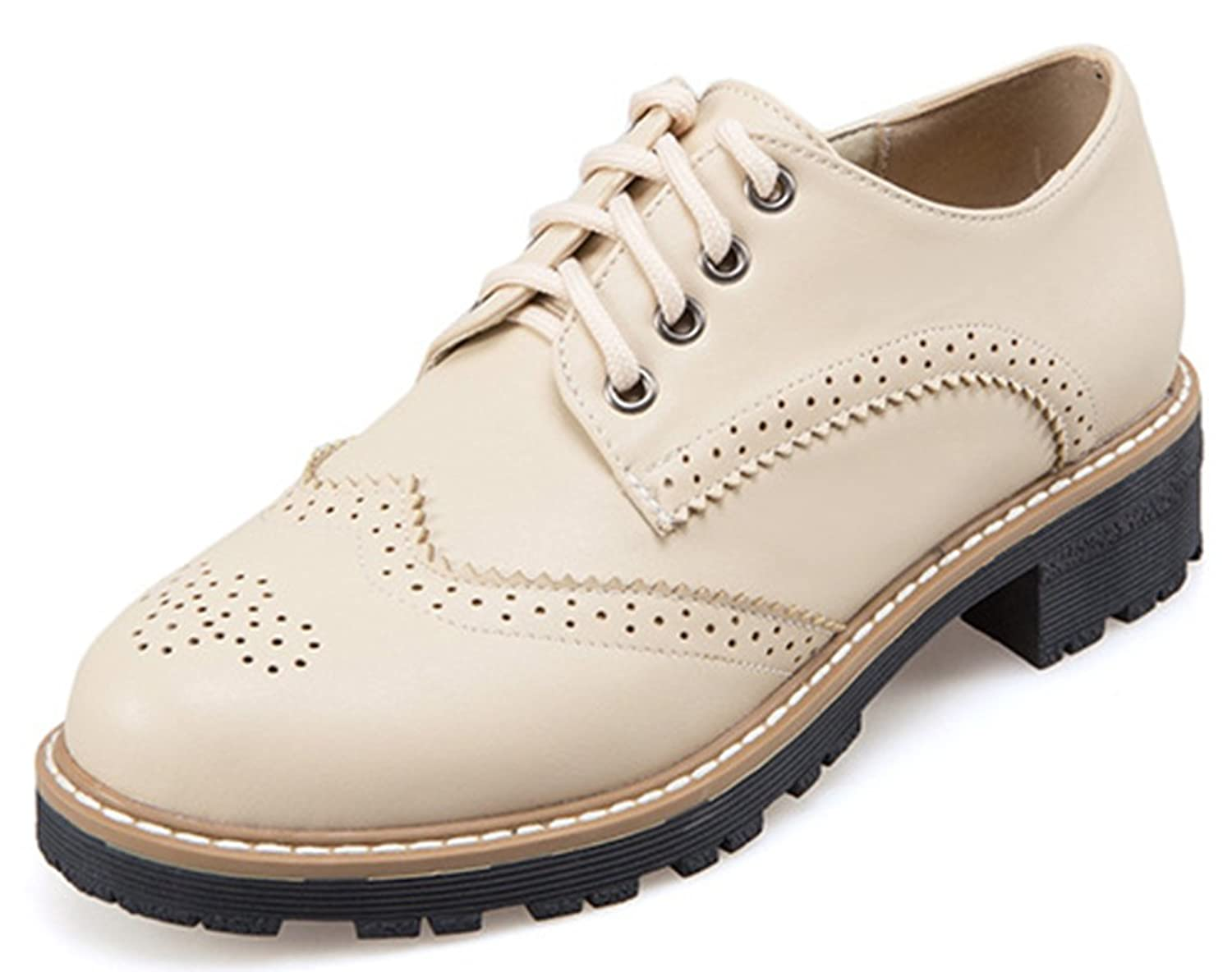 IDIFU Women's Casual Low Top Round Toe Low Chunky Heels Lace Up Brogues Oxfords Shoes