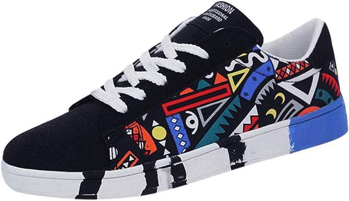 Zapatos Deportivos de Hombre Lanskirt Calzado Hombres Casual Graffiti de Lona Verano Moda Zapatillas Running con Cordones de Color Lienzo: Amazon.es: Zapatos y complementos