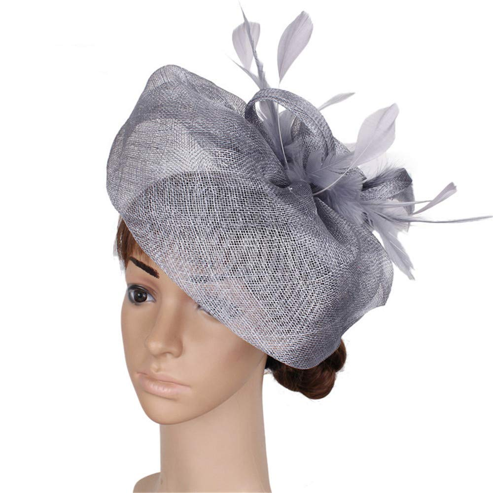 Women's Girl Fascinators Hat Comb on Feather Flower Headwear Cocktail Wedding Tea Party Hat in Grey