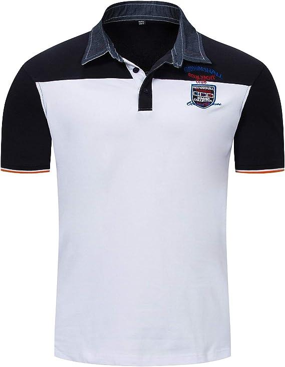 LEOCLOTHO Hombre Polos Manga Corta Bordado T-Shirt de Tennis ...
