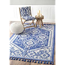 Flatweave Cotton Kilim Tassel Blue Area Rugs, 2 Feet by 3 Feet (2' x 3')