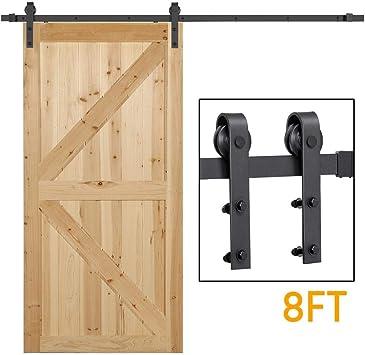6.6FT Antique Sliding Barn Door Hardware Double Door Track Kit Set Mini Roller