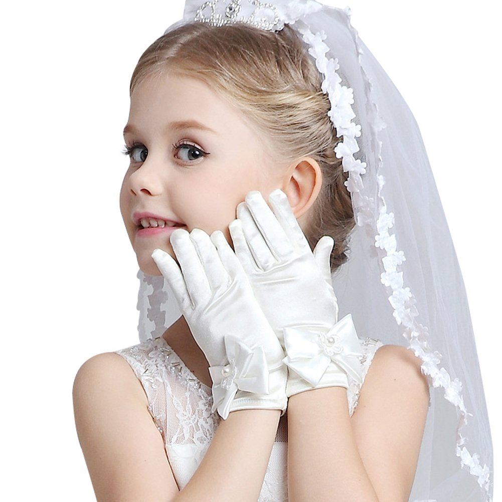 KSDN Flower Girls First Communion Pearls Lace Special Party Gloves with Bow M Satin Beige