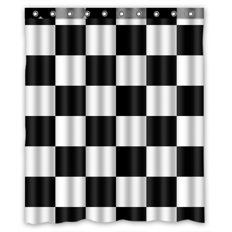Amazon KXMDXA Custom Black White Checkered Pattern Shower Curtain Waterproof Polyester Bathroom 60 X 72 Inch Home Kitchen