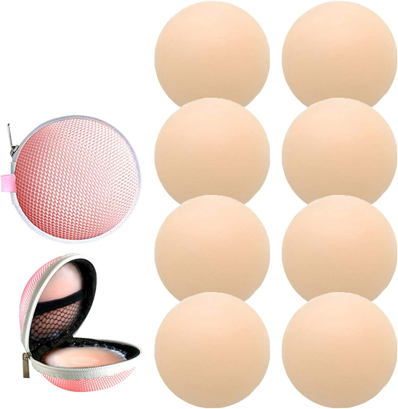 4 Pairs Womens Reusable Adhesive Nipple Covers Invisible Round Silicone Cover (4Round)