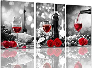 Wine Decor Kitchen Canvas Art Red Wine Rose Artwork for Home Walls Black and White With Red Wine Painting Printed Rose Art Dining Room Decor Red Kitchen Pictures Wall Decor Stretched 12x16inchx3