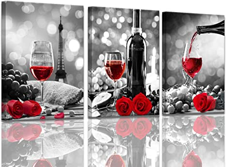 Amazon Com Wine Decor Kitchen Canvas Art Red Wine Rose Artwork For Home Walls Black And White With Red Wine Painting Printed Rose Art Dining Room Decor Red Kitchen Pictures Wall Decor Stretched