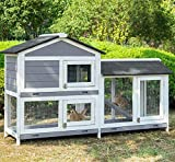 Two Floors Pet House Rabbit Hutch Wooden Bunny Cage